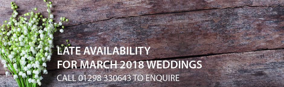 Late availability weddings